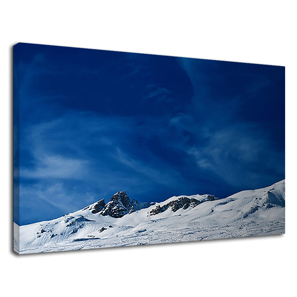 Snow Capped Mountains And Deep Blue Sky Skiing
