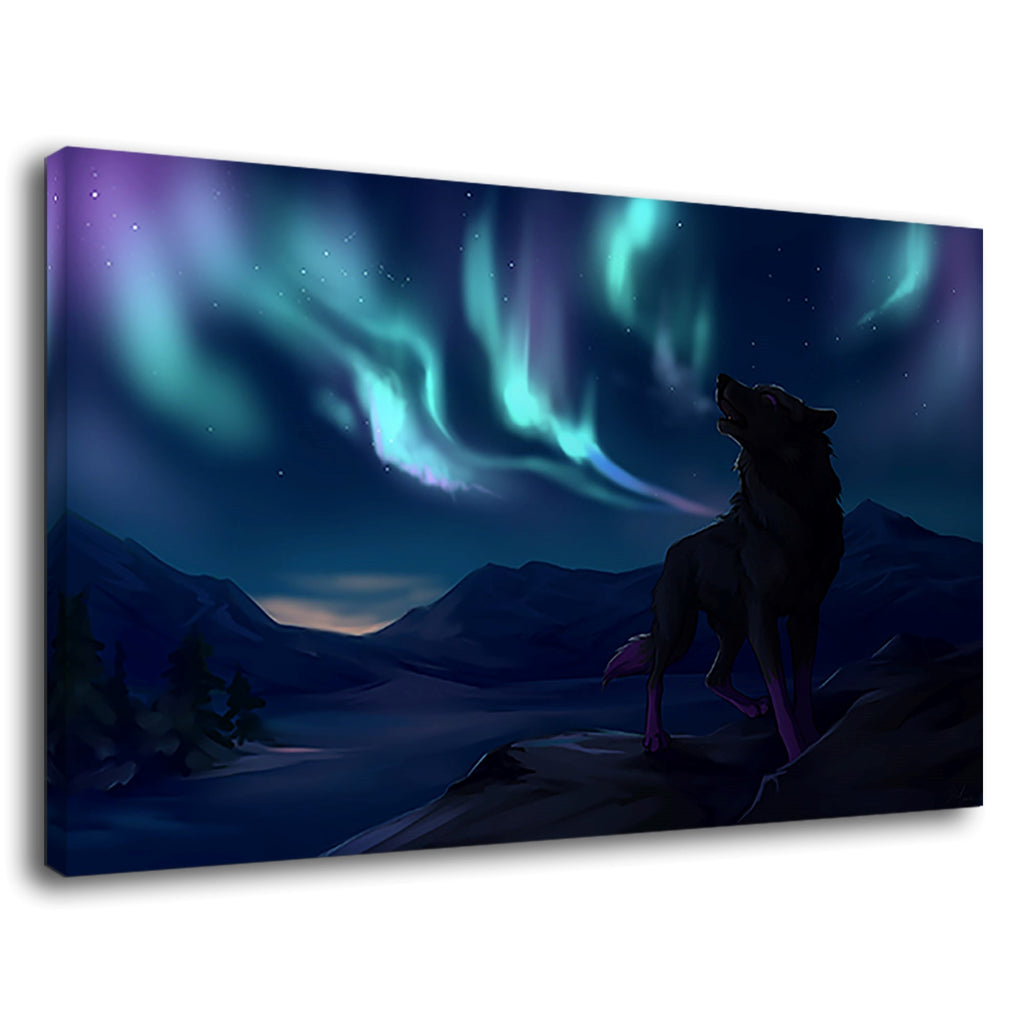 Wolf Aurora Northern Lights On Mountains Night