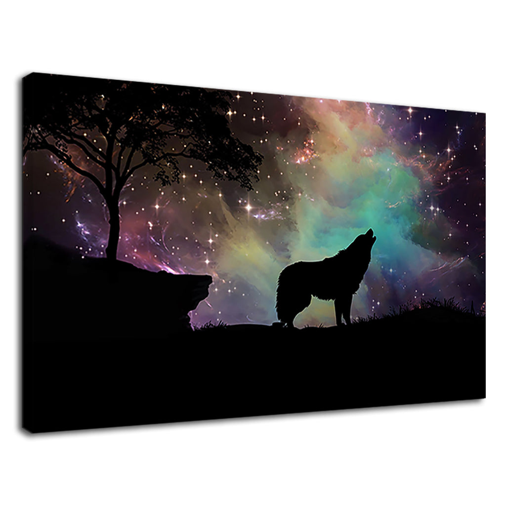 Silhouette Of A Snow Wolf On A Starry Night