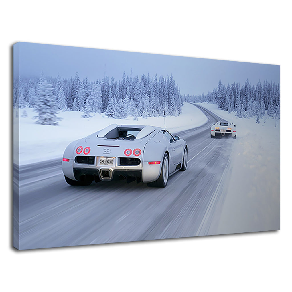 Bugatti Veyron Super Car In Snowy Forest Road