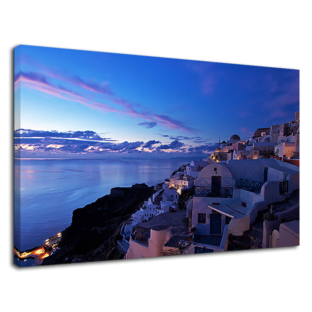 Stunning Santorini Greece Oia Town Blue Sunset