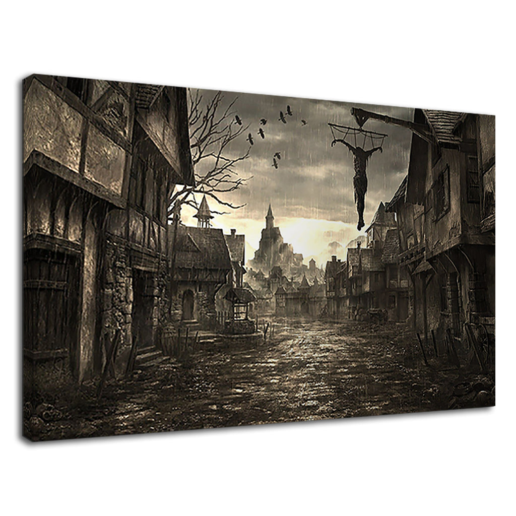 Rainy Dark Village Digital Art For Drawing Room
