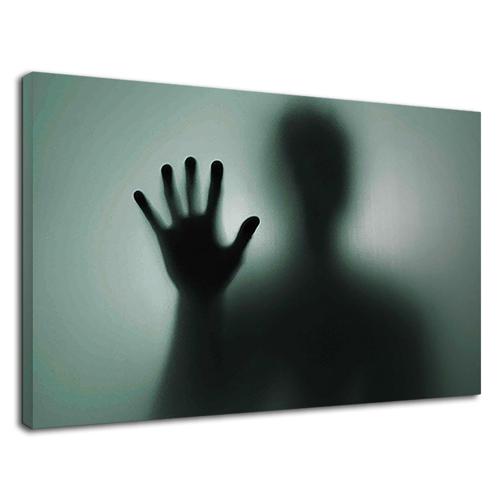 Ghosts Hand Silhouette Behind Frozen Glass