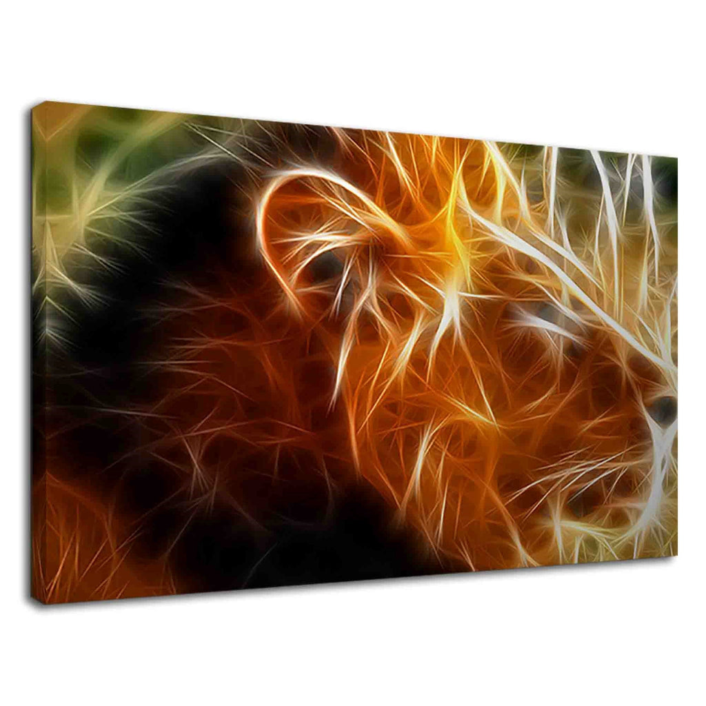 Lion Fractal Art Brown & Yellow For Drawing Room