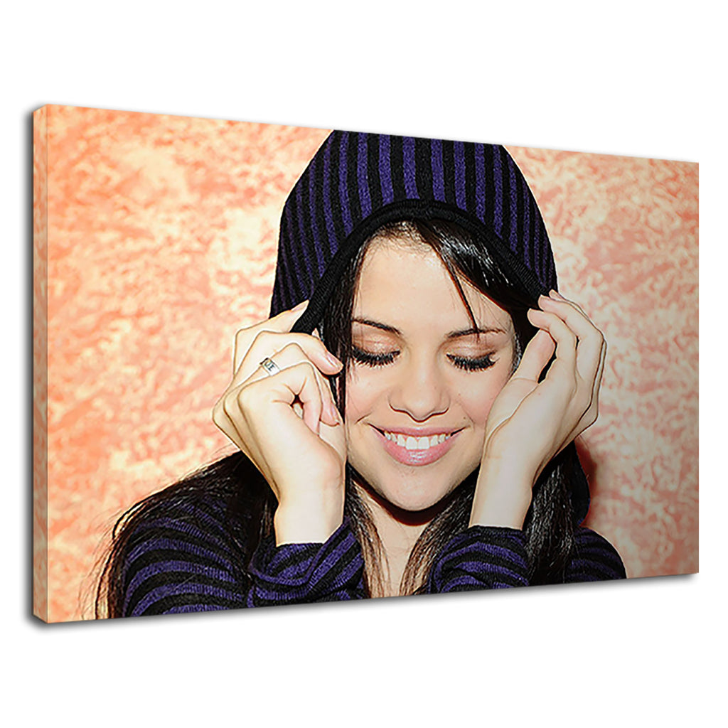 Selena Gomez Smiling In Black & Purple Hoodie