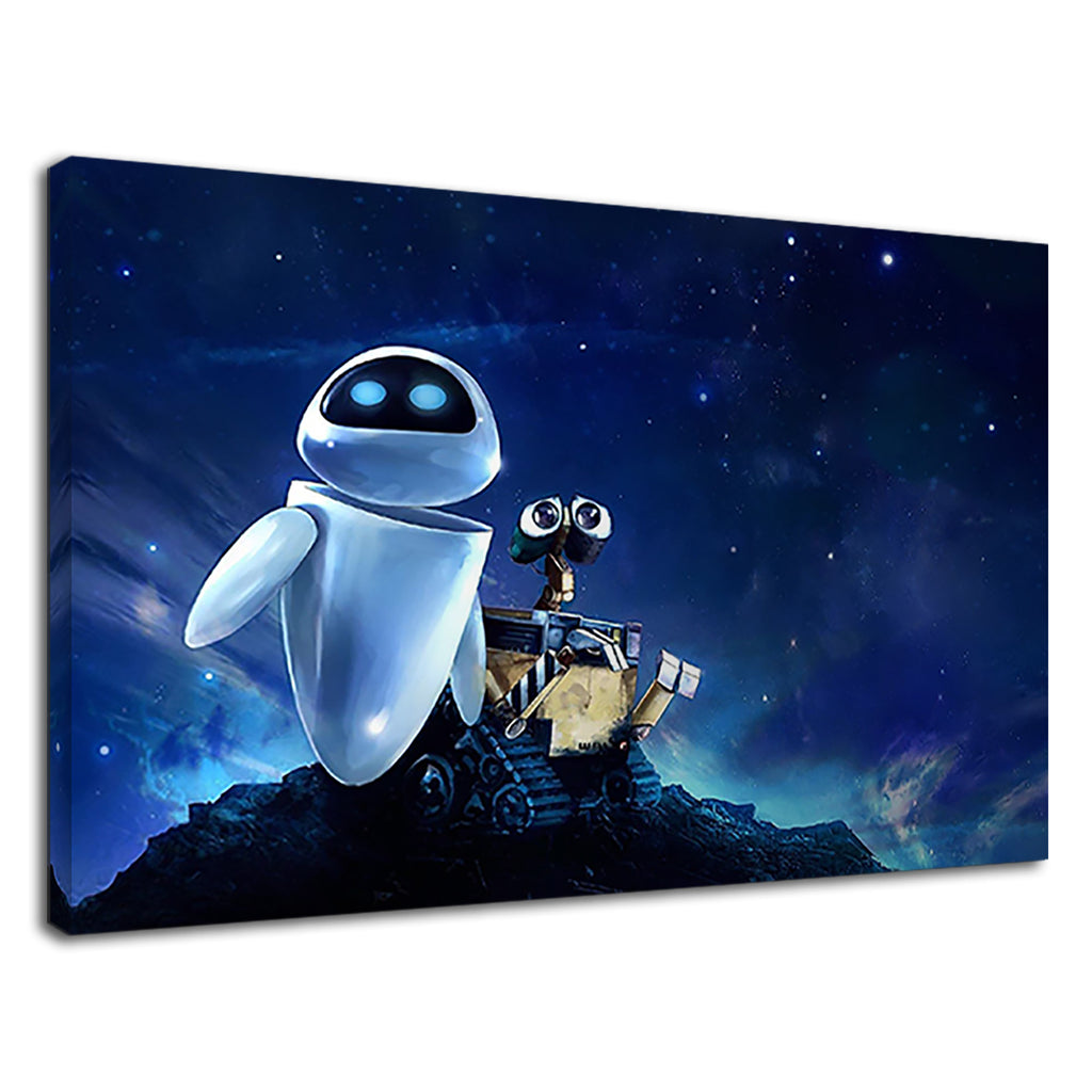 Wall-E And Eve On Neon Blue Sky For Kids Bedroom