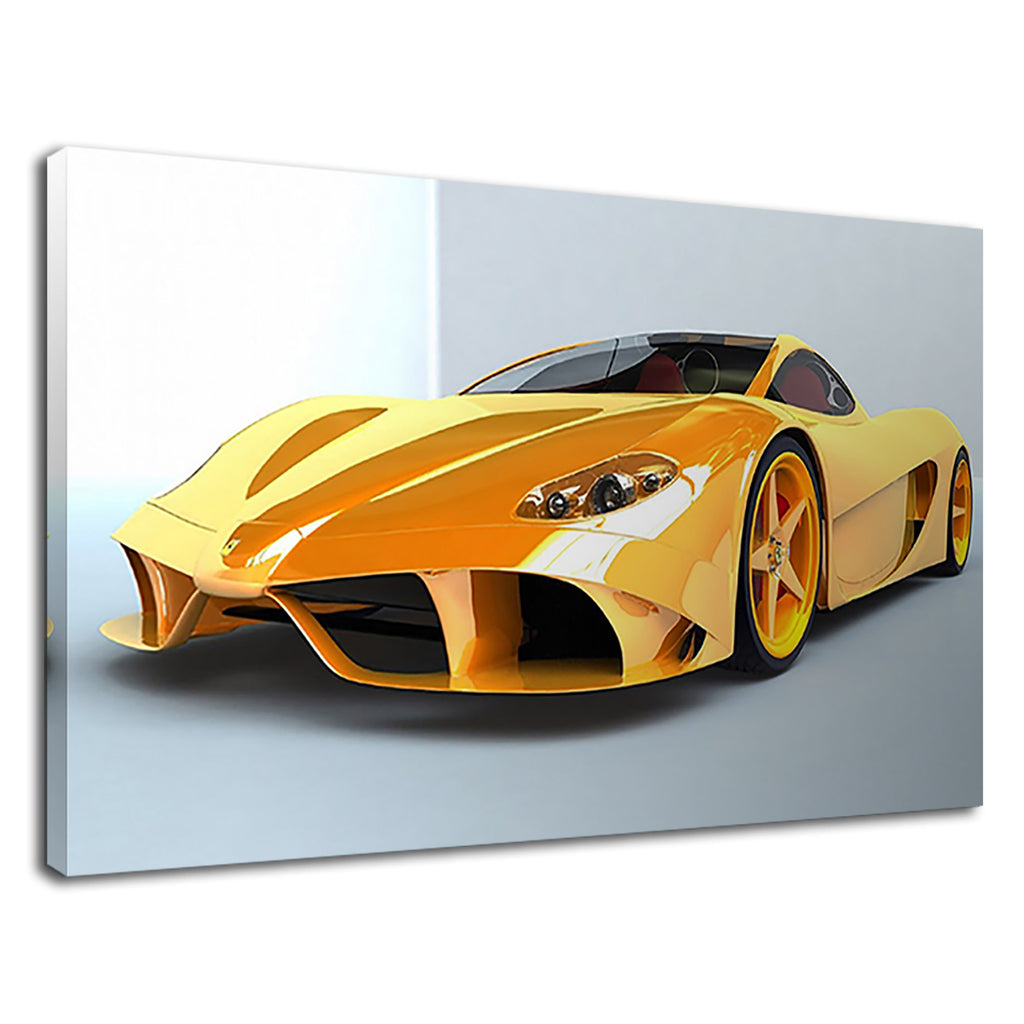 Yellow Cool Ferrari Sport Car For Living Room