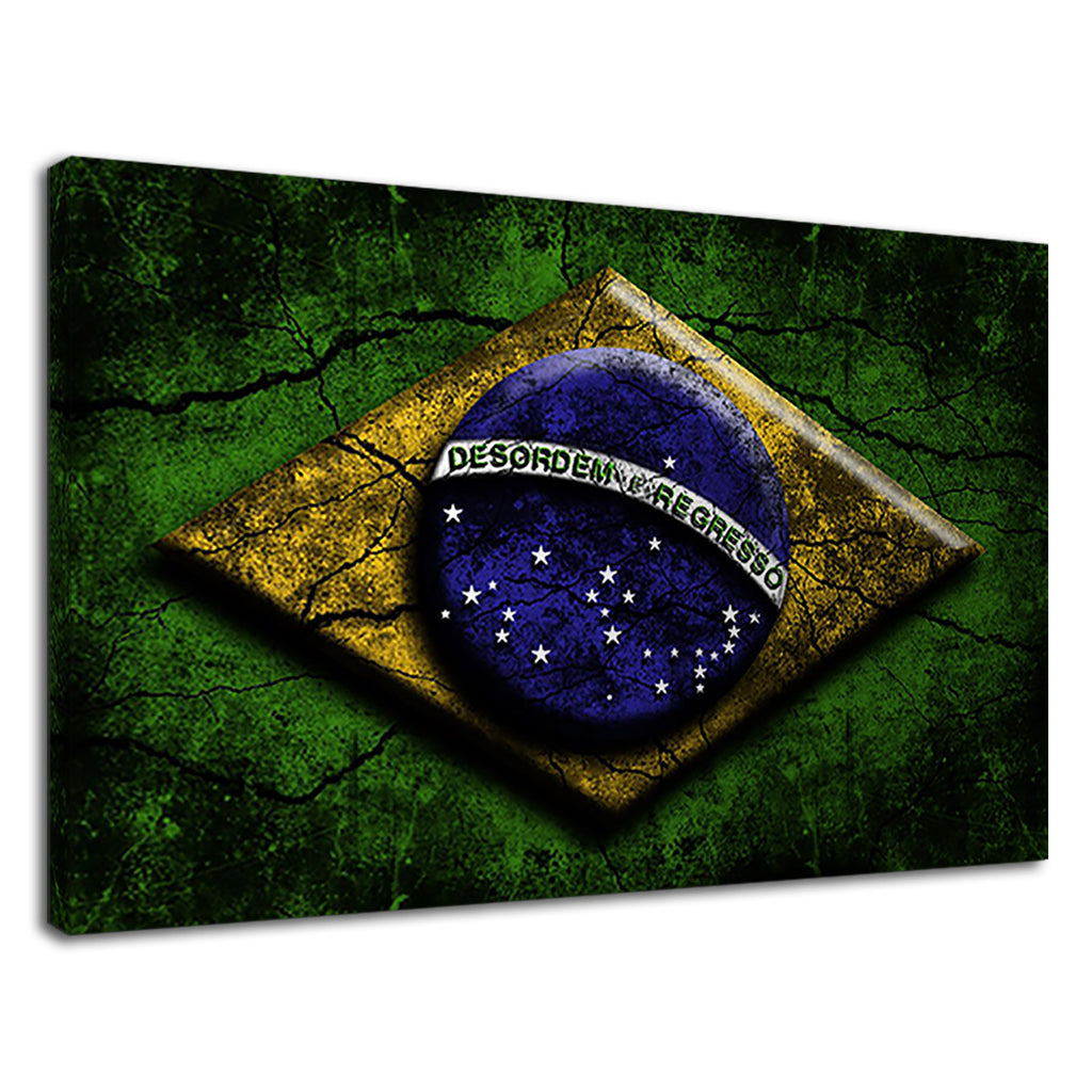 Grunge Cracked Brazilian Flag Of Brazil