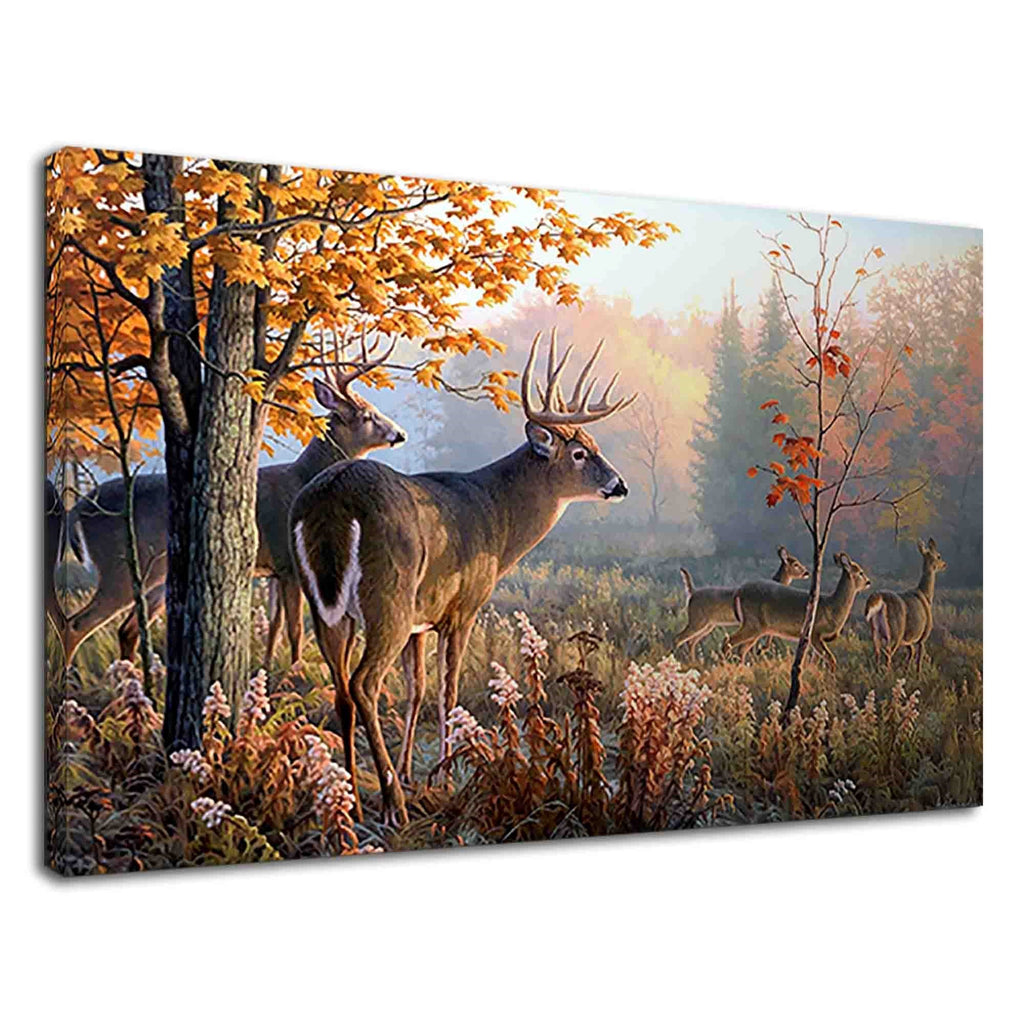 White-Tailed Deer In Forest Digital Oil Painting