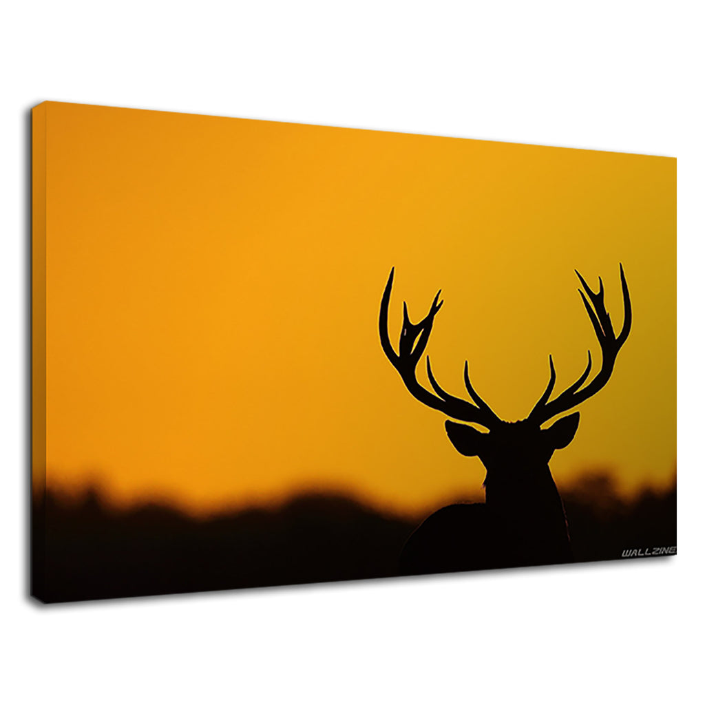 Silhouette Of Elk On The Sunset Background