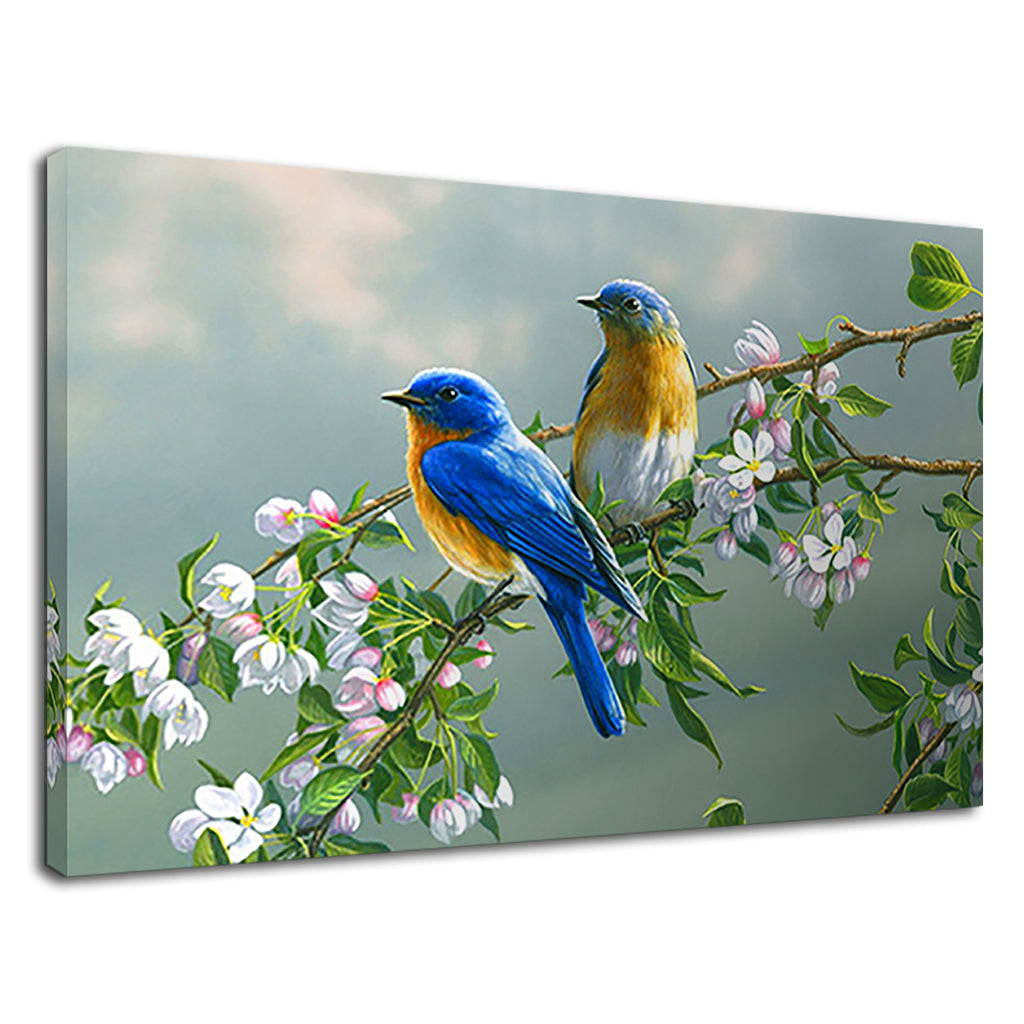 Wildlife Bird Painting Artwork Love Birds Blue