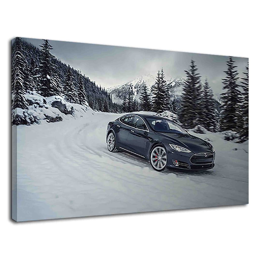 Black Tesla Model S Electric Vehicle On Snowy Road