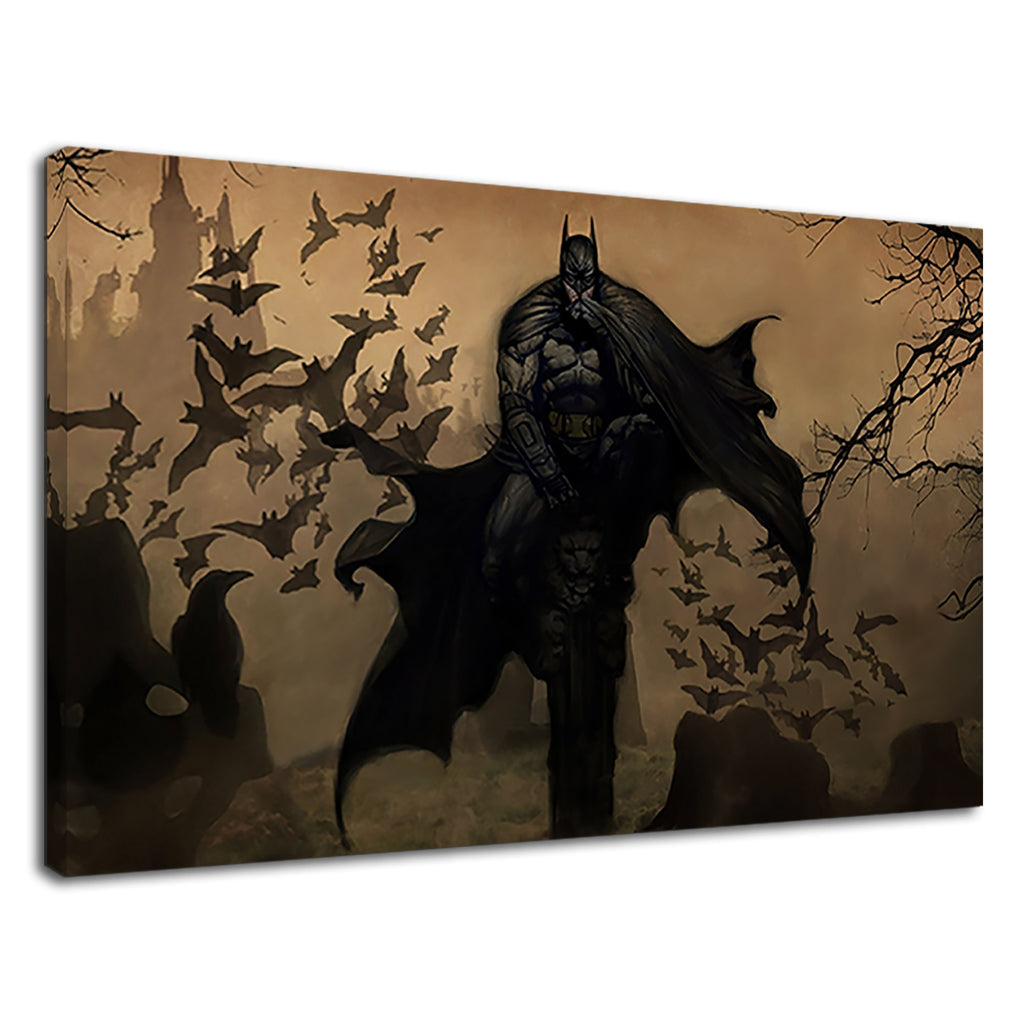 Batman And Silhouette Of Bats For Boys Bedroom