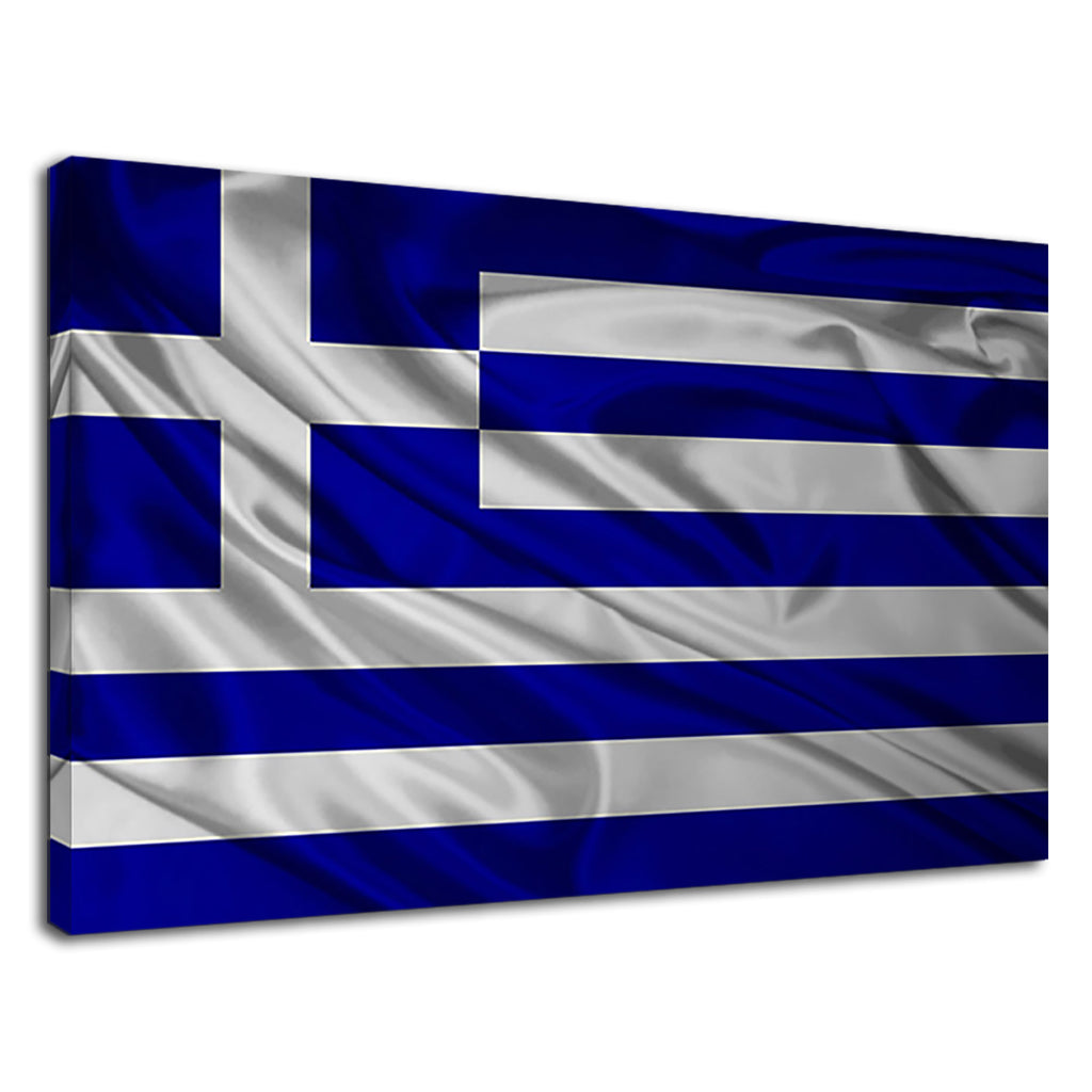Waving Greek Flag Digital Artwork For Drawing Room