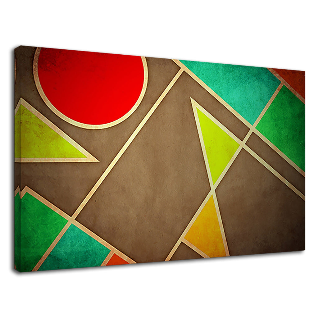 Pastel Geometric Shapes Abstract Art Green Orange