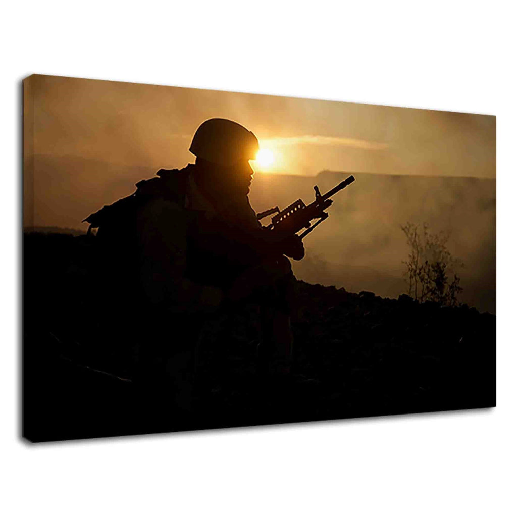 Silhouette Of A Soldier In Sunset For Drawing Room