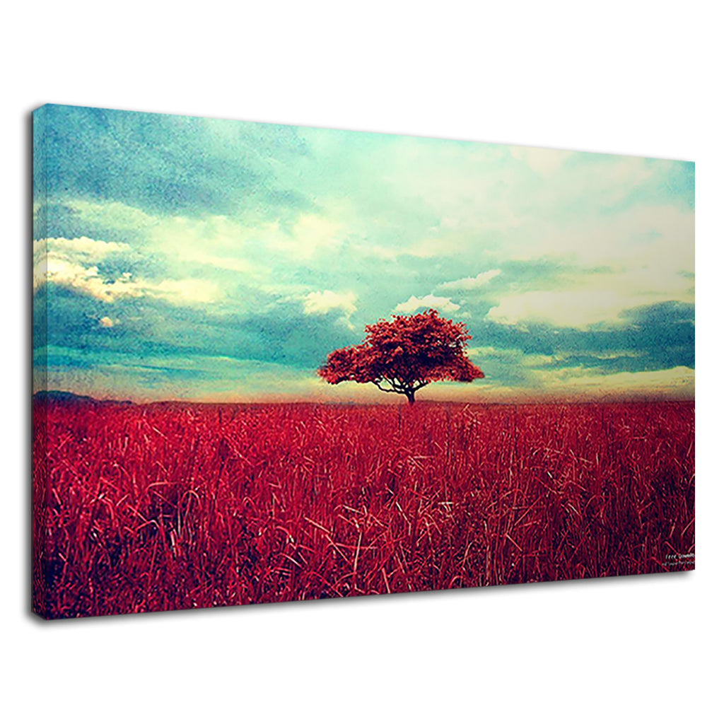 Retro Cinematic Lone Tree In Field Vintage Grunge