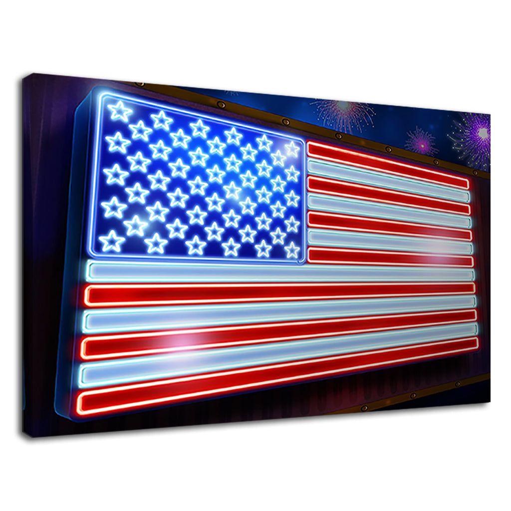 Neon Lights Stars And Stripes American Flag