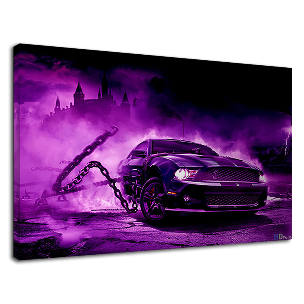 Chained Shelby Mustange Purple Muscle Car Castle