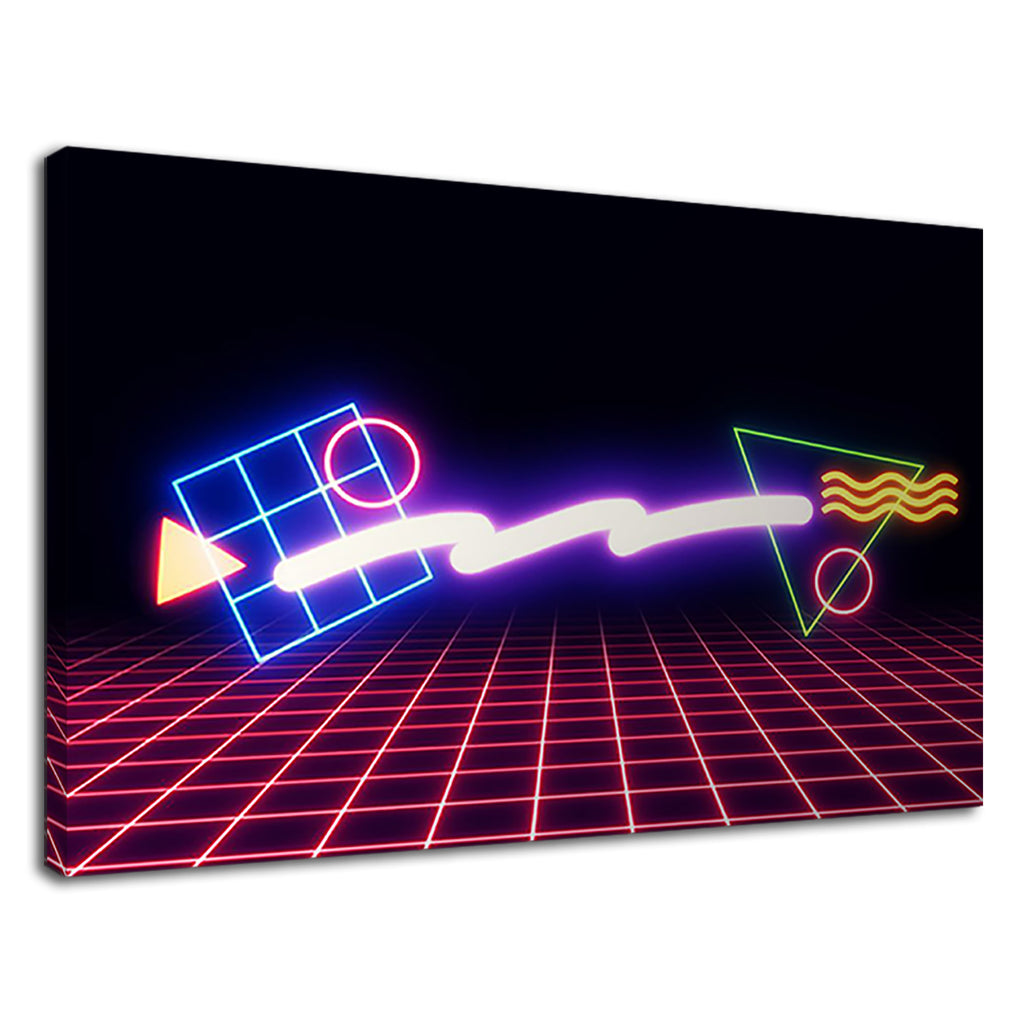 Retro Computer Games Neon Lights Abstract Art