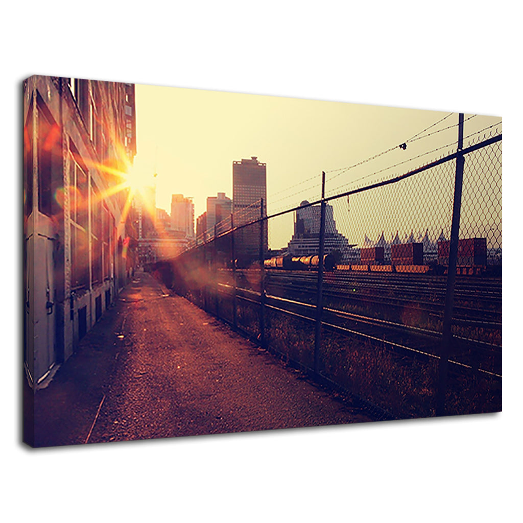 Vintage Cityscape With Sunset For Living Room