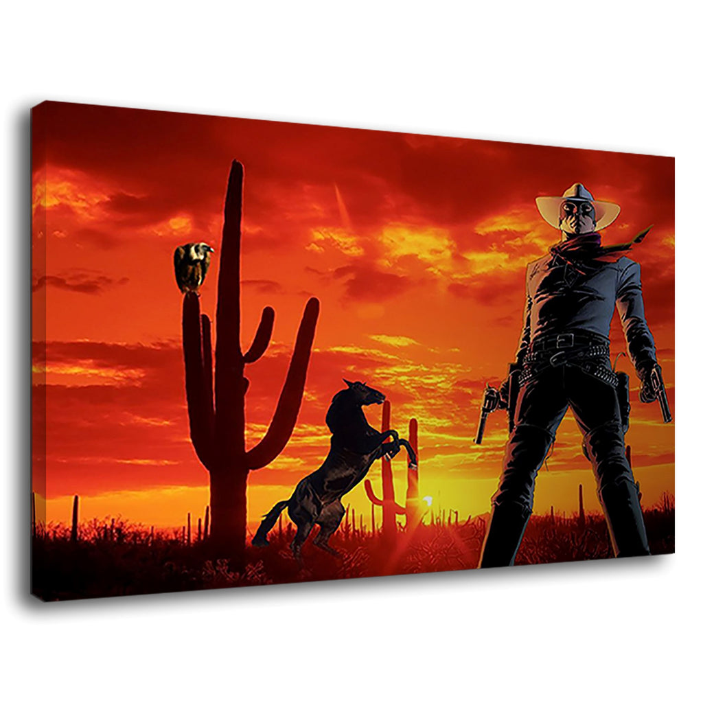 Wild West Prancing Horse Sunset Cowboy