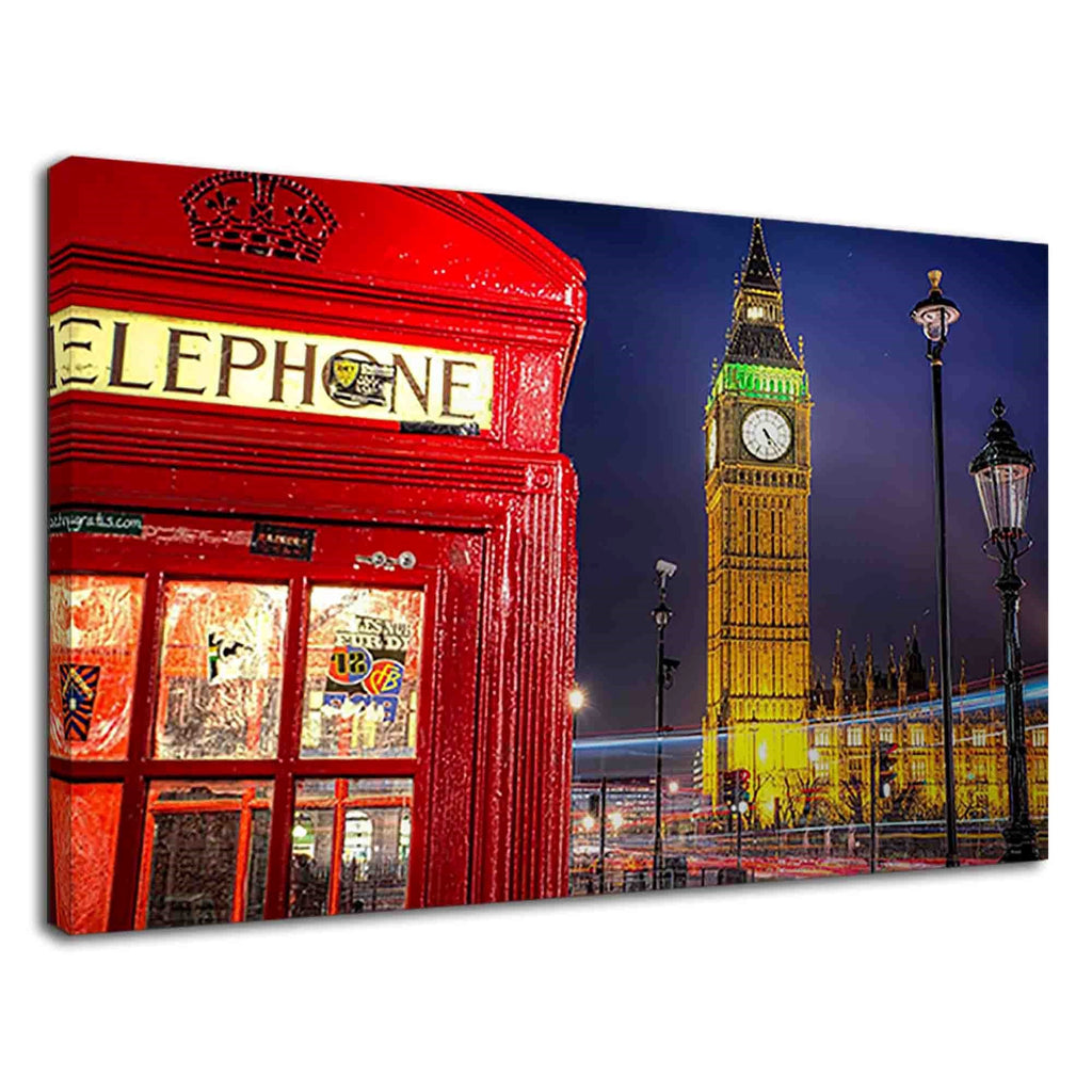 Classic London Red Telephone Booth And Big Ben