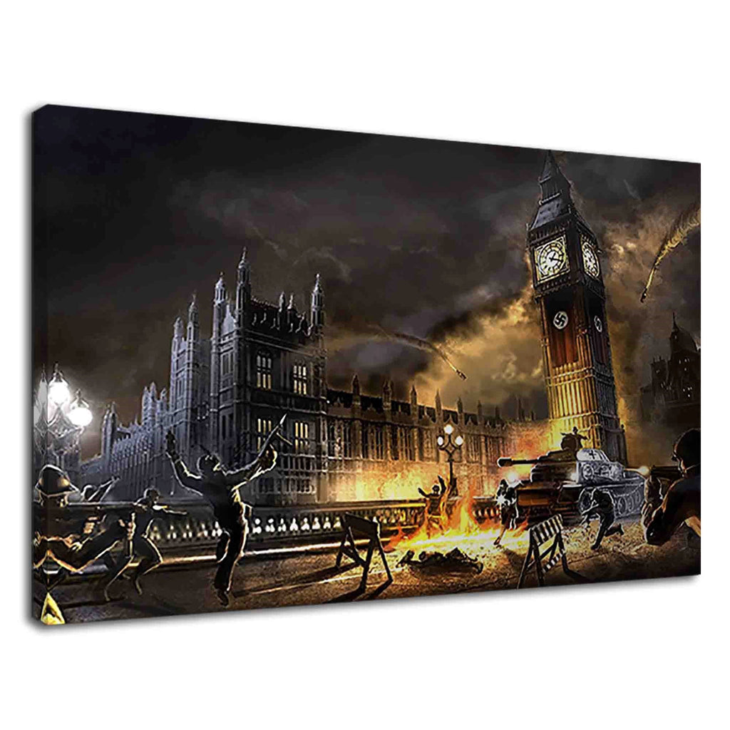 World War Ii Scene In Front Of Big Ben Concept Art