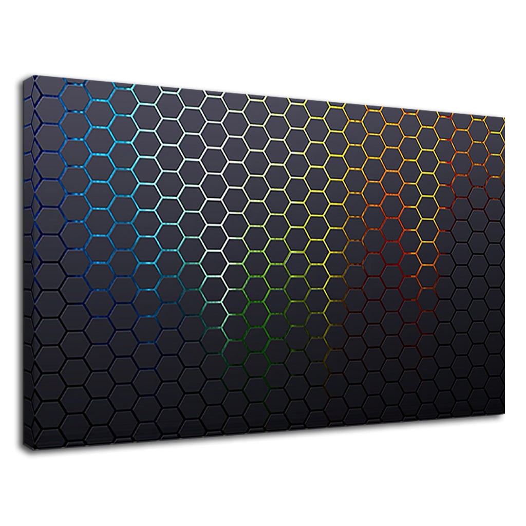 Tessellated Hexagons Metallic Rainbow Abstract