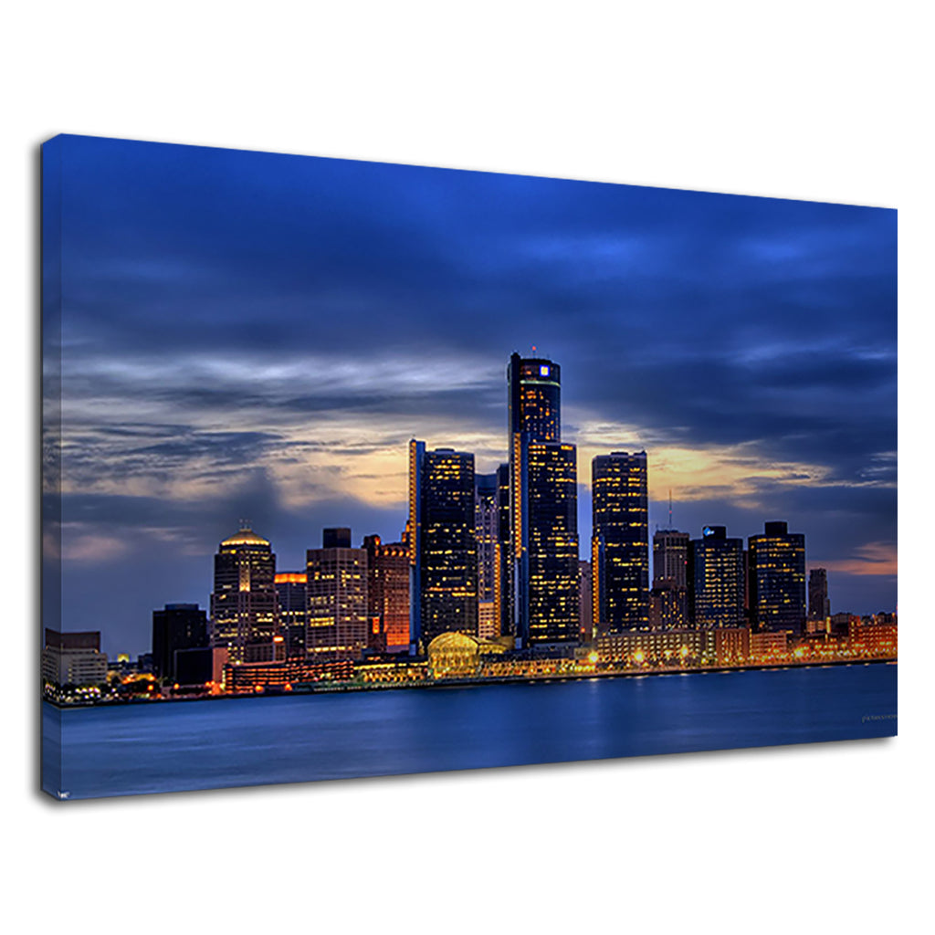 Perfect Detrout Skyline At Night Cityscape