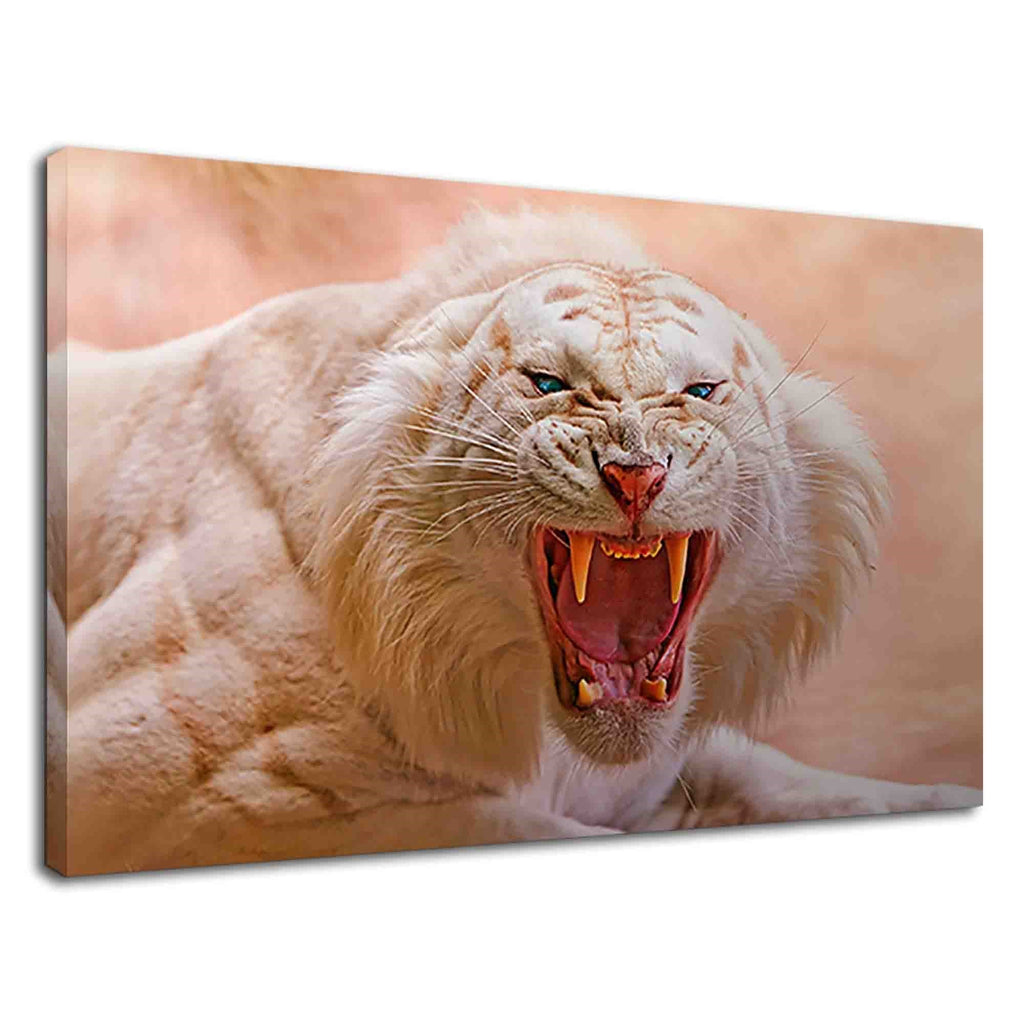 Angry White Tiger With Blue Eyes For Drawing Room