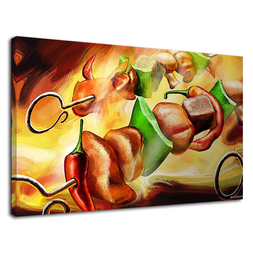 Kebab On Fire Digital Oil Painting For Dining Room