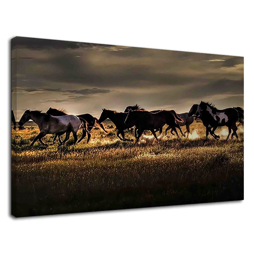 Wild Horses Running In Grass Field For Living Room