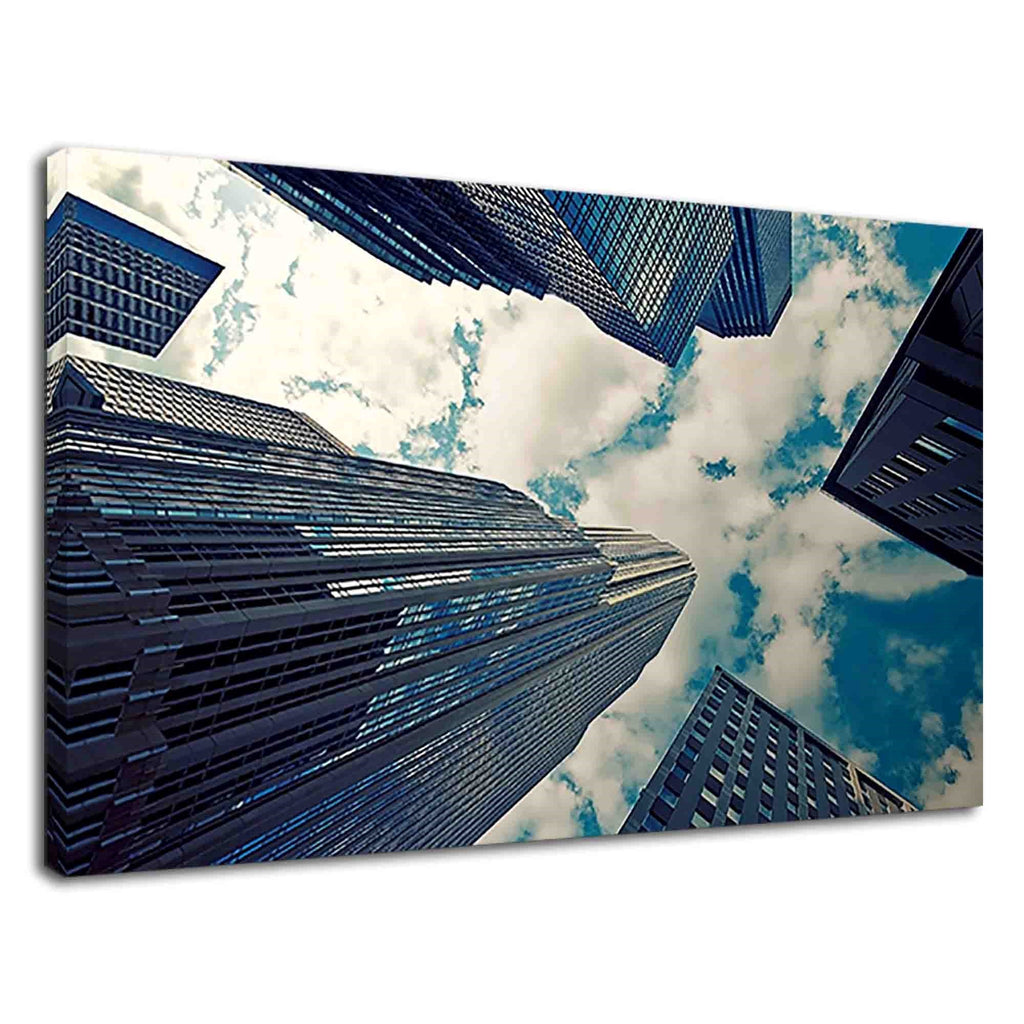 Tall Buildings And Cloudy Blue Sky For Living Room