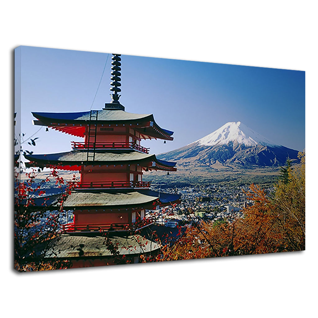 Pagoda Japan Japanese Mt Fuji Snow Capped Mountain