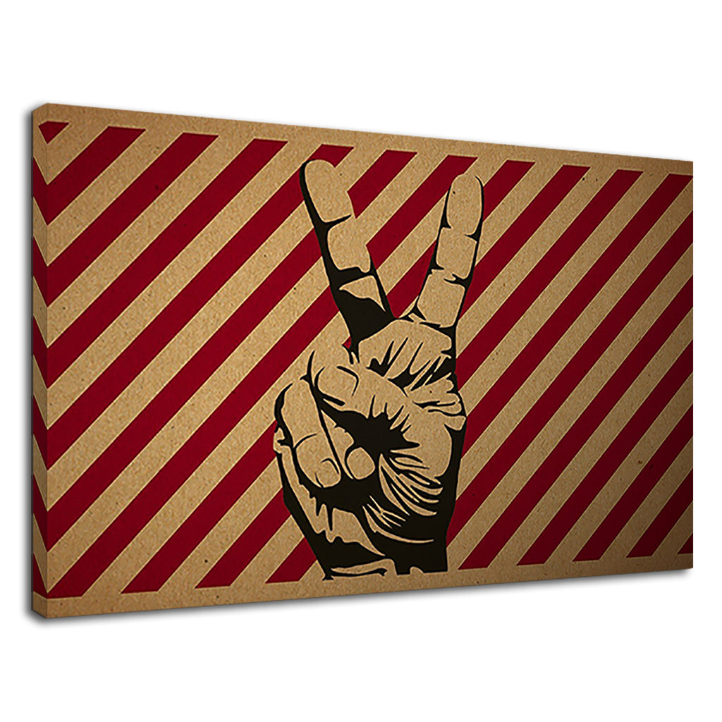 Trippy Peace Hand Grunge Retro Stylistic Red White