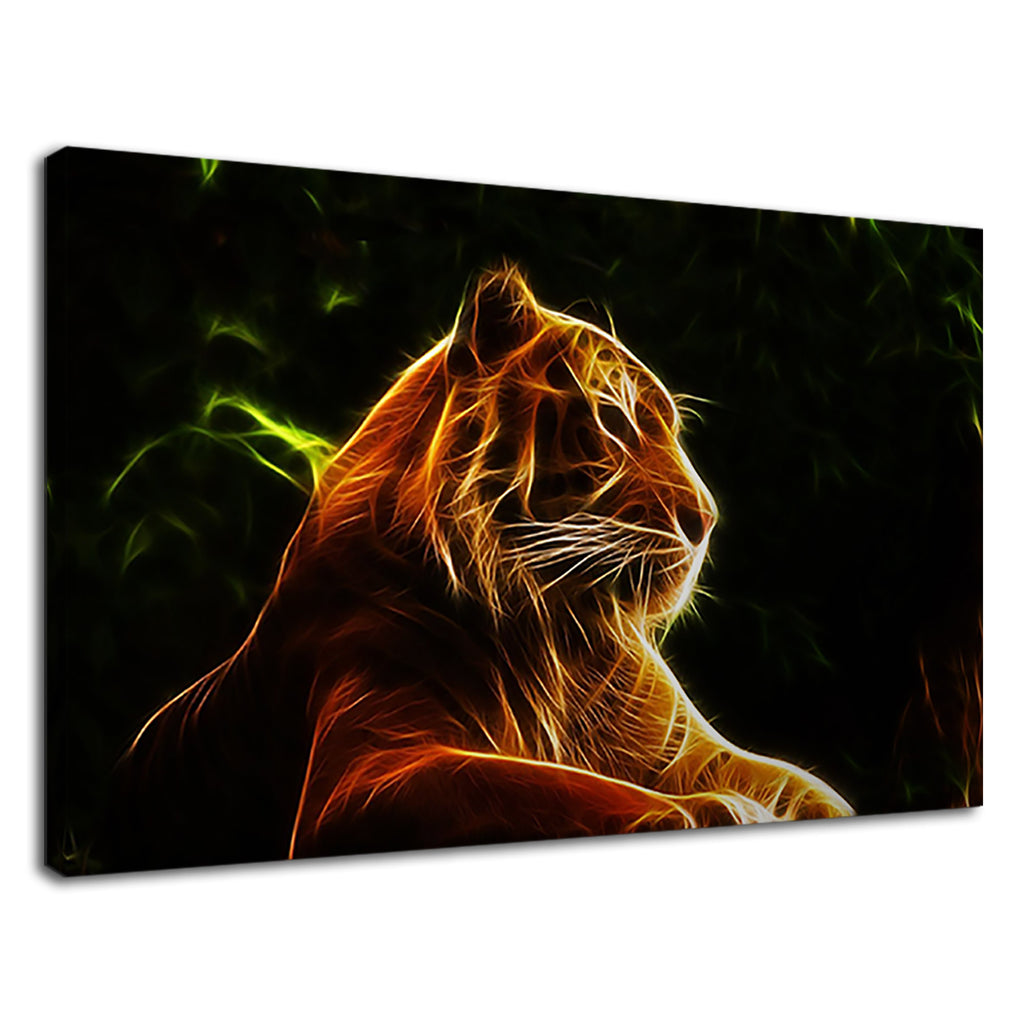 Digital Lion Neon Lines Safari Wildlife Wild Cat