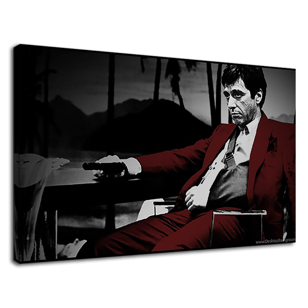 Tony Montana Sling Gun Red Black And White Mobster
