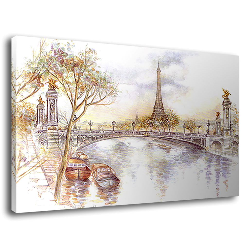 Vintage Paris Watercolour Painting Eiffel Tower