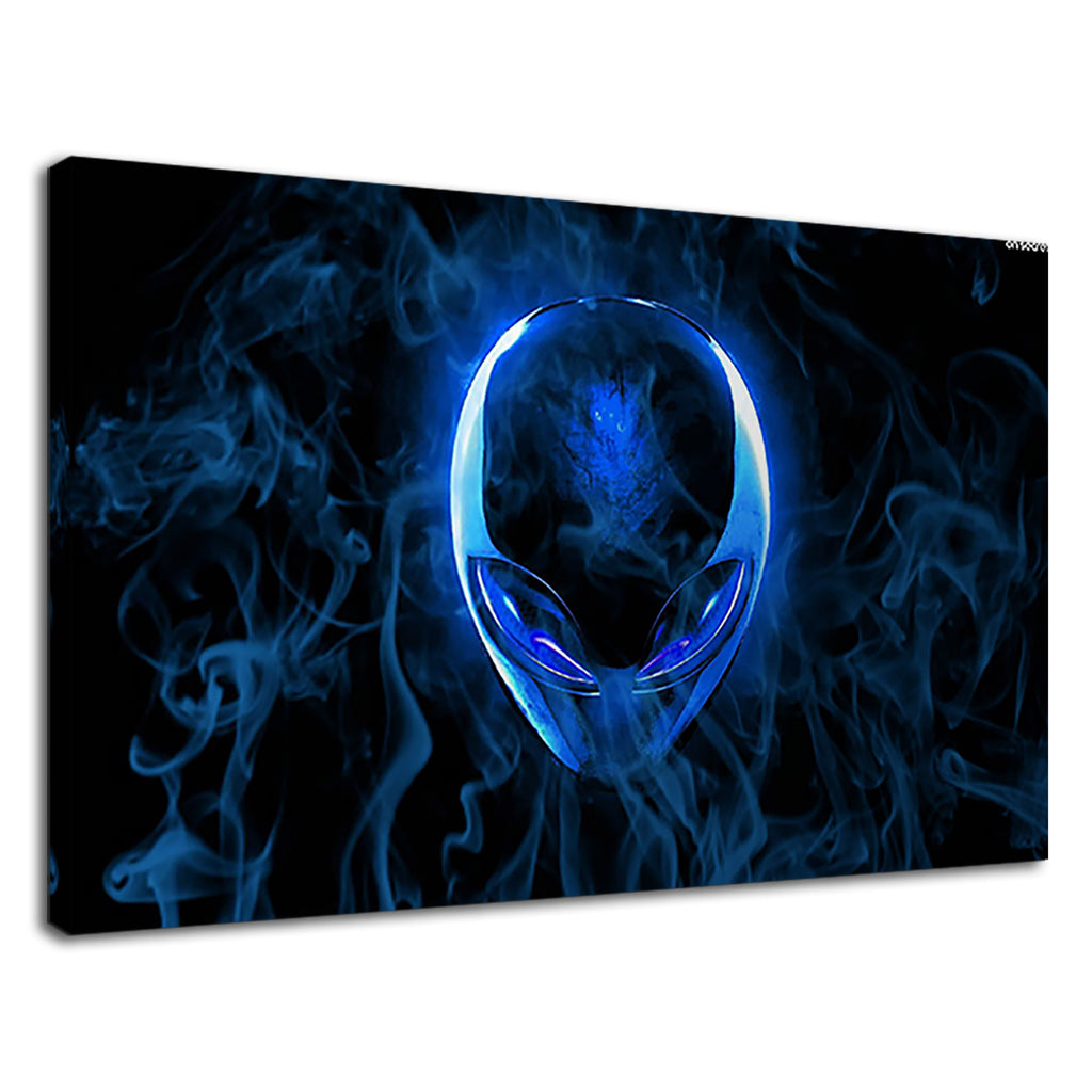 Blue Alien Digital Neon Smoke Alienware Gamer