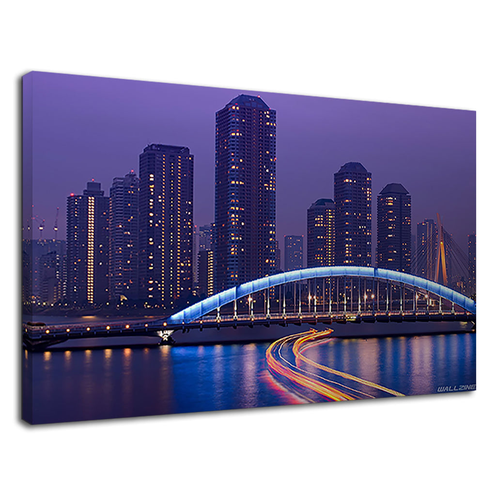 Tokyo Bridge Night Skyline Graphic Art Cityscape