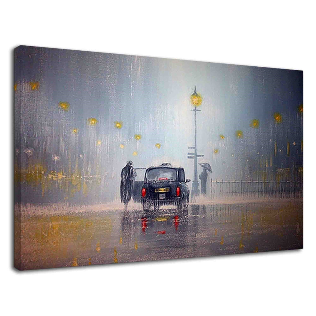 Finding A Taxi In The Rain Digital Oil Painting