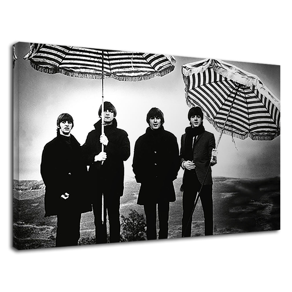 Black And White The Beatles With Umbrella