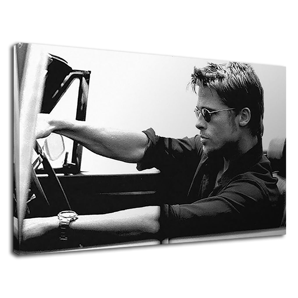 Brad Pitt Black And White Driving Iconic Actor