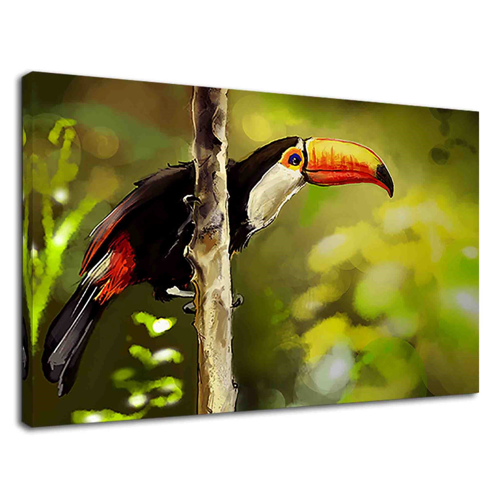 Amazing Toucan Bird In Jungle Digital Oil Painting