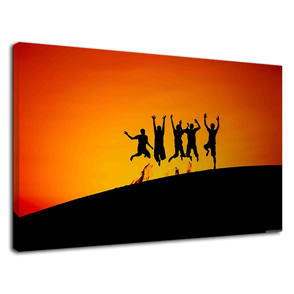 Silhouette Of Happy Friends During Orange Sunset