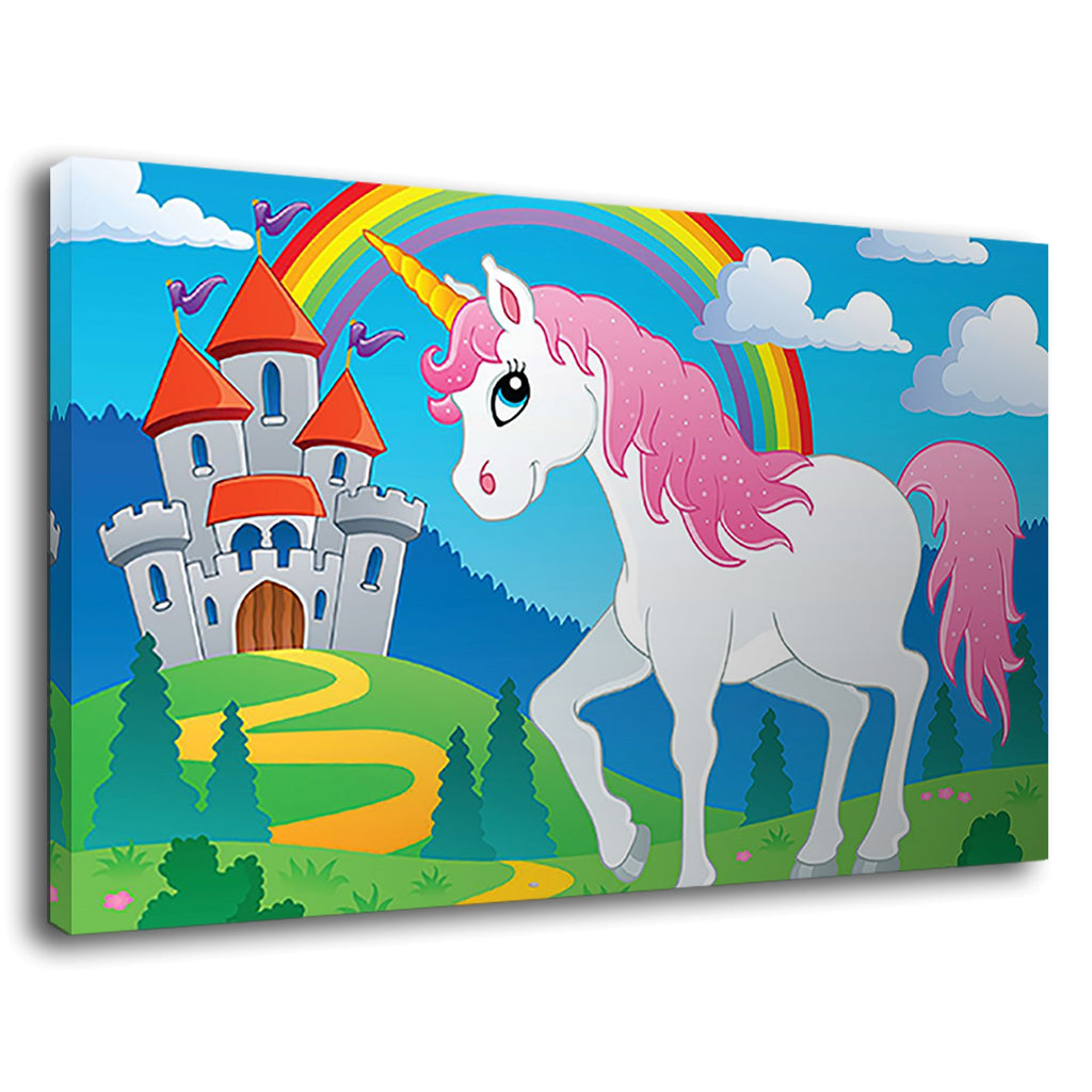 Cute Cartoon Unicorn And Rainbow Castle Princess