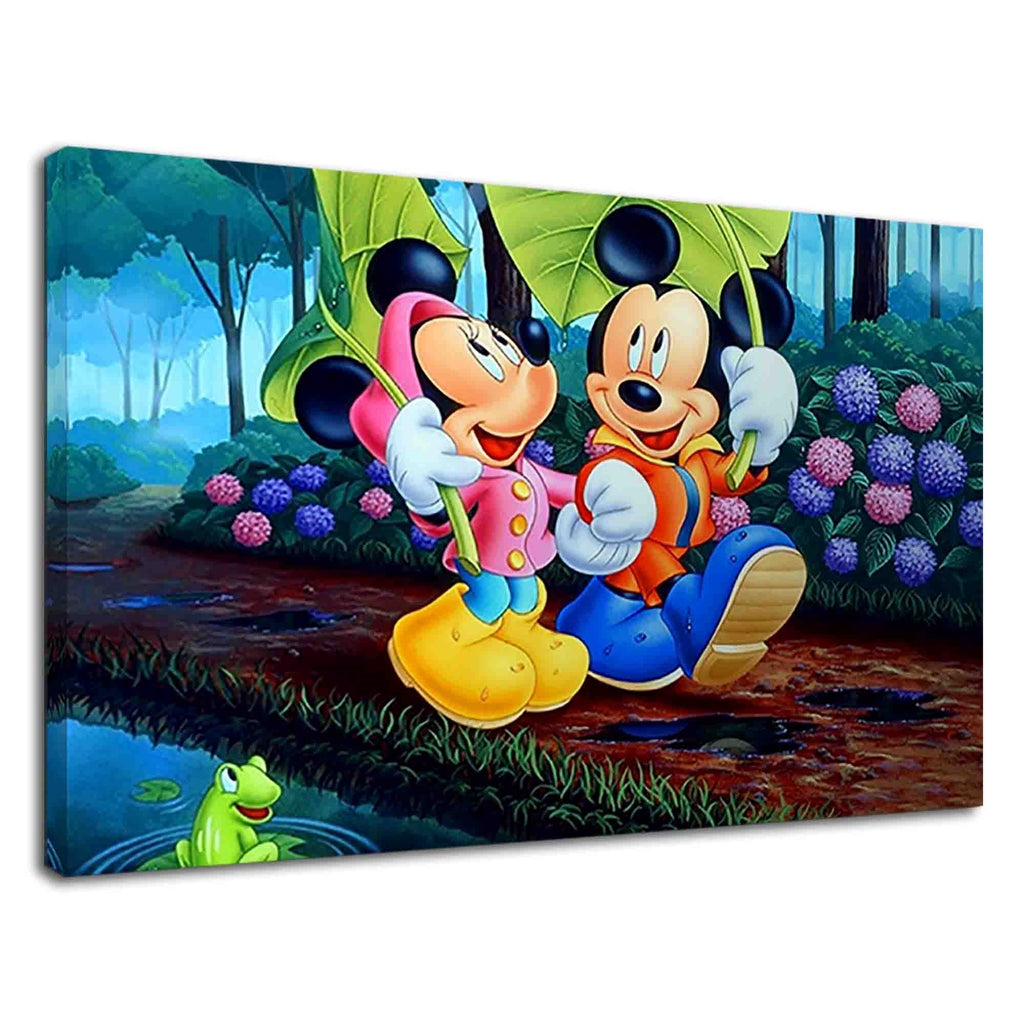 Mickey And Minnie Walking With Big Leaves In Rain