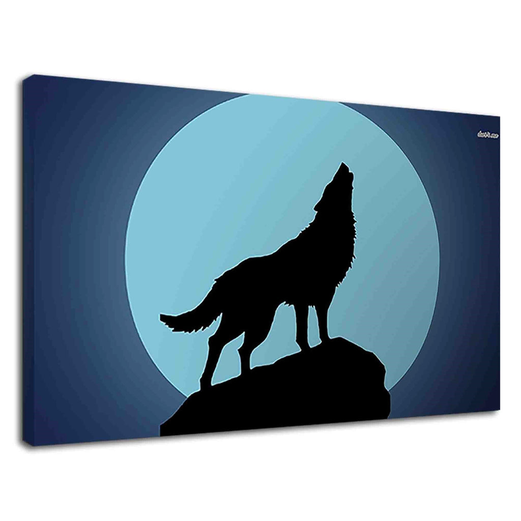 Silhouette Of Howling Wolf At The Moon Fantasy Art