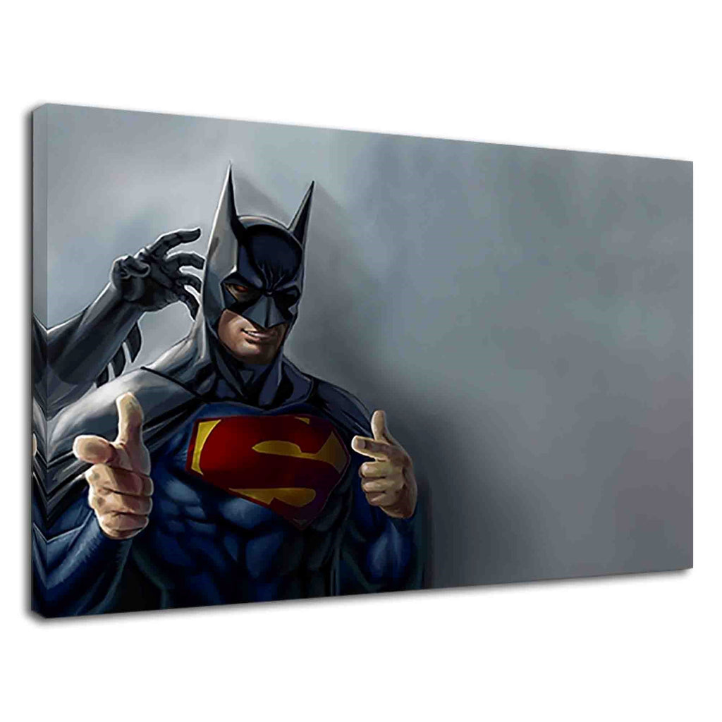 Superman Wearing Batman Mask Digital Illustration